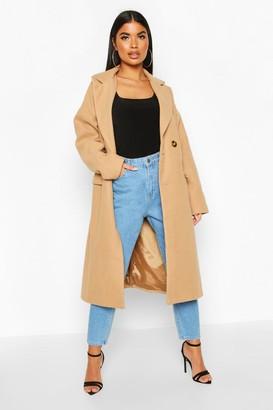 boohoo Petite Pocket Detail Wool Look Coat