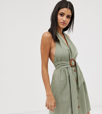 Asos Tall ASOS DESIGN Tall halter neck mini button through linen sundress with buckle