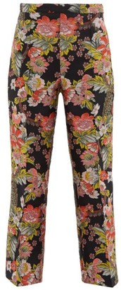 Andrew Gn Kick Flare Floral Brocade Trousers - Womens - Black Multi