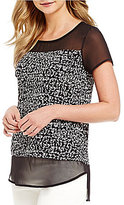 Vince Camuto Short Sleeve Fluttering Notes Mix Media Top