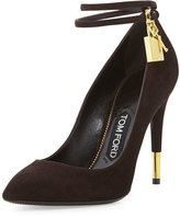 Tom Ford Suede Ankle-Lock Pump, Chocolate