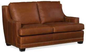 Timberland Bradington-Young Young Stationary Leather Loveseat Bradington-Young Body Fabric Green Bay, Leg Color: Stone