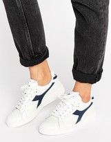 Diadora Game Low Trainers In White & Navy