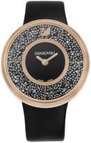 Swarovski Crystalline Black Rose Gold Tone Watch