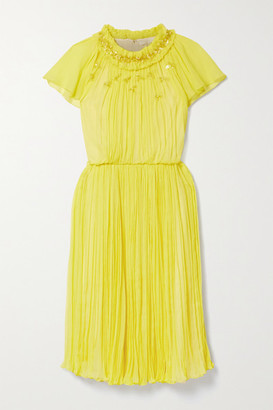 Jason Wu Collection Embellished Pleated Silk-crepon Dress - Bright yellow