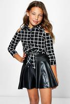 Boohoo Girls Cold Shoulder Grid Check Shirt