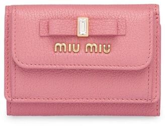 Miu Miu Bow Embellished Tri-Fold Wallet