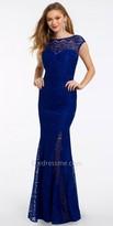 Camille La Vie Illusion Lace Cap Sleeve Prom Dress