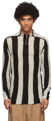 Sunnei Black and White Cashmere Zip-Up Sweater