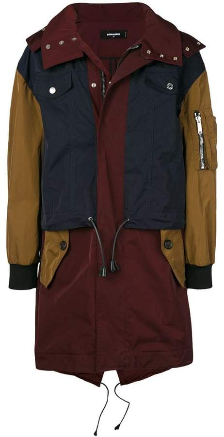 DSQUARED2 colour-block zipped coat