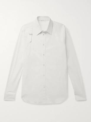 Alexander McQueen Slim-Fit Pique-Trimmed Stretch-Cotton Poplin Shirt