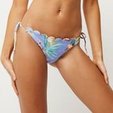 River Island Womens Blue floral scalloped string bikini bottoms