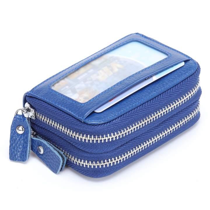 14e9954c7870 MuLier Top Genuine Leather Women Cash Purse RFID Blocking Anti-Theft Front  ID Window Double Zipper Around Card Holder