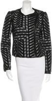 Diane von Furstenberg Leather-Trimmed Patterned Jacket