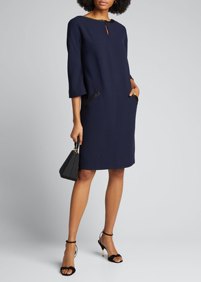 Atelier Caito For Herve Pierre Middle-Striped Shift Dress