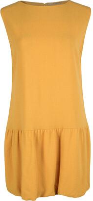 Ermanno Scervino Mustard Yellow Ruffle Bottom Sleeveless Wool Dress M