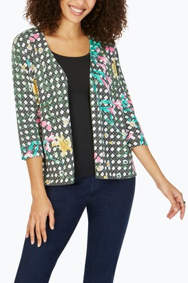 Foxcroft Floral Lattice Print 3/4 Sleeve Cardigan