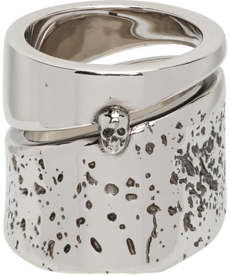 Alexander McQueen Silver Molten Metal Ring