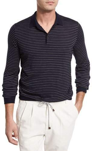 Brunello Cucinelli Fine-Gauge Wool-Cashmere Striped Long-Sleeve Polo Shirt