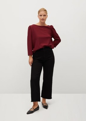 MANGO Violeta BY Gathered sleeve t-shirt maroon - XL - Plus sizes