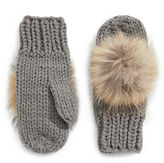Linda Richards Wool Mittens with Fur Pom Pom