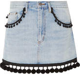 Marc Jacobs Pompom-embellished Denim Mini Skirt - Blue