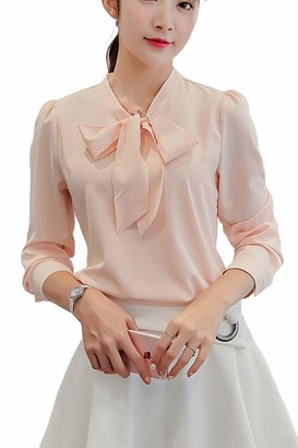 Zilcremo Women Spring Chiffon Pussy Bow Blouse Shirt Casual Long Sleeve Top Pink XXL