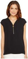 MICHAEL Michael Kors Lock Zip Neck Top Women's Clothing