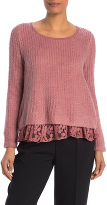Lola Made In Italy Lace Ruffle Boucle Sweater