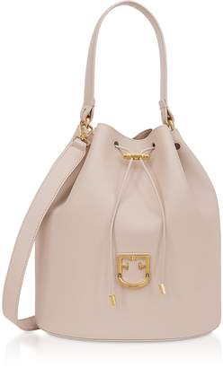 Furla Corona M Drawstring Leather Bucket Bag