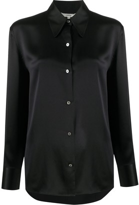 Vince Pointed-Collar Silk Blouse