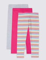Marks and Spencer 3 Pack Cotton Leggings with Stretch (3 Months - 7 Years)