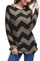 Allegra K Ladies Zig-Zag Pattern Loose Knitted Tunic Shirt