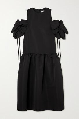 Victoria, Victoria Beckham - Gathered Cold-shoulder Faille Midi Dress - Black