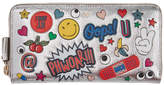 Anya Hindmarch Silver Large All Over Wink Stickers Zip Around Wallet