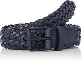 Barneys New York Men's Braided Leather Belt-NAVY