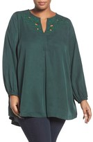 Melissa McCarthy Plus Size Women's Embroidered Cutout Neck Blouse