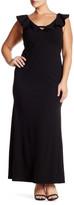 ABS by Allen Schwartz Deep V-Neck Ruffled Gown (Plus Size)