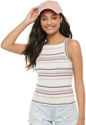 Mudd Juniors' Square High Neck Cropped Tank Top