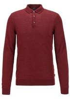 BOSS Merino-wool sweater with polo collar