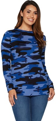 Denim & Co. Heavenly Jersey Camo Print Long Sleeve Pullover Top