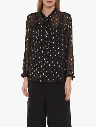 Gina Bacconi Ismene Foil Detail Tie Neck Sheer Blouse, Black/Gold