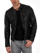 Leather Hub Men's Lambskin Leather Bomber Biker Leather Jacket