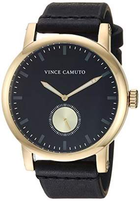 Vince Camuto Men's VC/1108BKGP Gold-Tone and Black Leather Strap Watch