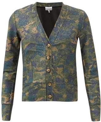 Ganni Camouflage Metallic Cardigan - Womens - Khaki