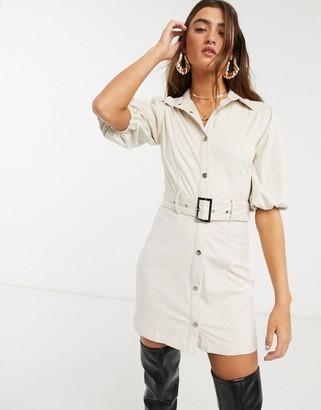 Bershka faux suede shirt dress in ecru