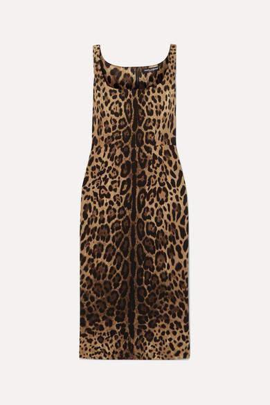 Dolce & Gabbana Leopard-print Silk-blend Satin Midi Dress - Leopard print