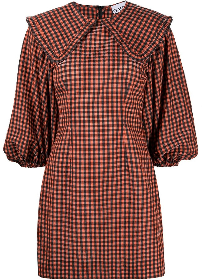 Ganni Seersucker Check Mini Dress