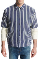 Vince Narrow-Stripe Short-Sleeve Pleat-Back Shirt, Royal