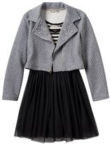 Knitworks Girls 7-16 Skater Dress & Embellished Moto Jacket Set